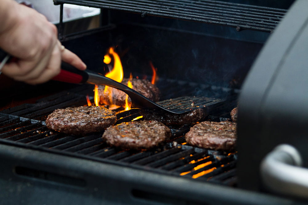 Burgers on a BBQ