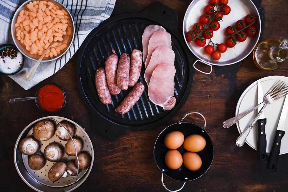 Raw breakfast ingredients